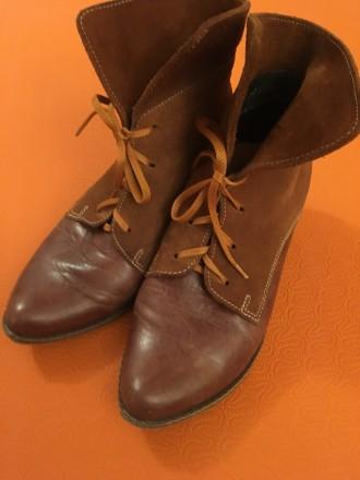 Ботинки замша+кожа на шнурках рыжие размер 37-37,5 б/у в хорошем состоянии. Запорожье. фото 1