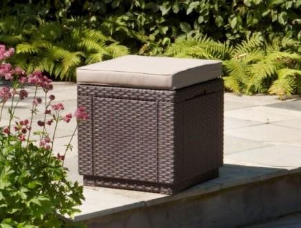 Садовой уличной пуфик ящик Cube With Cushion Нидерланды Allibert, Keter. Мукачево. фото 1