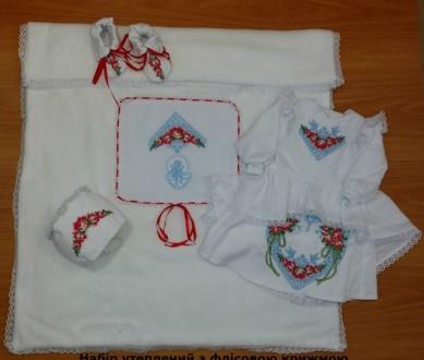 Яркий стильный набор для крещения девочки. Богатая вышивка ХП07(р.56-74). Винница. фото 1