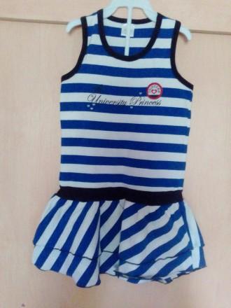 Платье морячки с беретом на 3-4 года (рост 98). Чернигов. фото 1