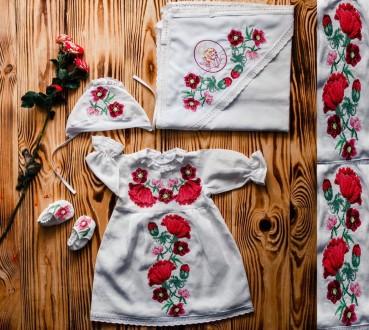 Яркий крестильный набор для маленькой девочки. Вышивка(р.56-74)ХП02.. Винница. фото 1
