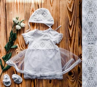 Вышитый белый летний крестильный набор с фатином(размер 56-74).. Винница. фото 1