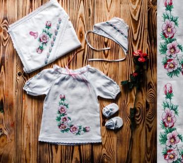 Вышитый нежный набор для крещения девочки (р.56-74) Модель ХП10.. Винница. фото 1