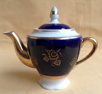 Чайник заварочный *Калинка*.  Фарфор, кобальт, позолота.. Одесса. фото 1