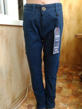Темно синие Стрейч Котоновые брюки на мальчика 6-12 лет 116-152 рост. Маріуполь. фото 1