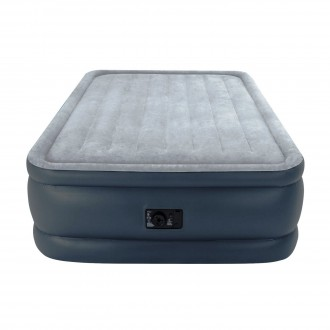 Двухспальная надувная флокированная кровать Intex 64140, серая, со встроенным на. Харьков. фото 1