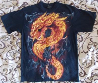 Футболка Огненный дракон и череп. Кривой Рог. фото 1