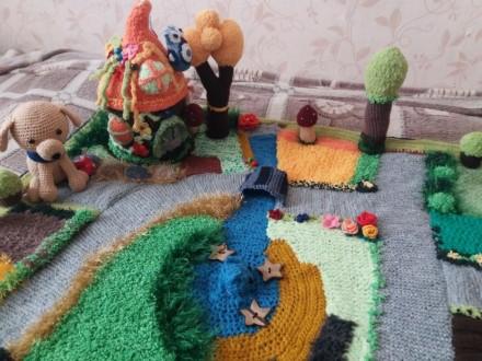 Вязаный развивающий коврик для детей, развивает моторику пальчиков и воображение. Київ, Київська область. фото 3