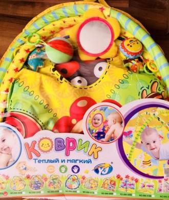Детский коврик от 0+ с милыми звенящими и пищащими игрушками и безопасным зеркал. Николаев, Николаевская область. фото 2