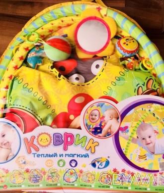 Детский коврик от 0+ с милыми звенящими и пищащими игрушками и безопасным зеркал. Николаев, Николаевская область. фото 1