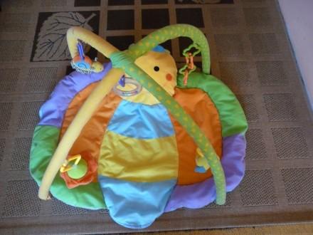 Коврик в виде бабочки для развития малышей, в комплекте погремушка, цветные коле. Суми, Сумська область. фото 2
