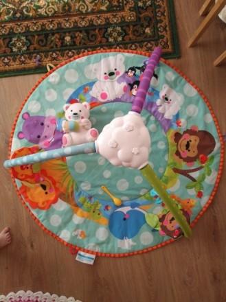 Коврик с 3-мя дугами. + Мишка белый (музыкальный), + висячие игрушки- погремушки. Буча, Київська область. фото 2