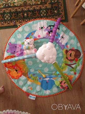 Коврик с 3-мя дугами. + Мишка белый (музыкальный), + висячие игрушки- погремушки. Буча, Київська область. фото 1