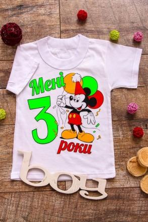 Оригинальная детская футболка из белого кулира. Дополнена ярким красочным накато. Хуст, Закарпатская область. фото 5