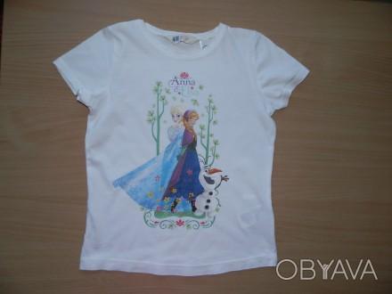 Продам футболку H&M с Эльзой и Анной р.122-128 состояние новой - срезали бирки и. Южний, Одеська область. фото 1
