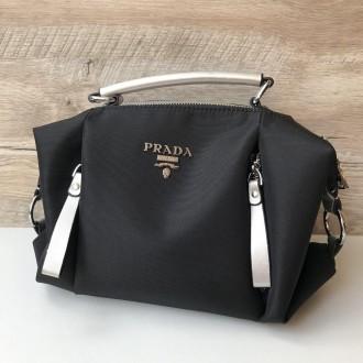 Стильная женская сумка Prada плащевка  Фурнитура: серебро  Сумочка имеет два. Одесса, Одесская область. фото 10