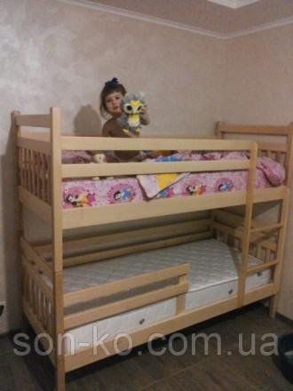 Ліжко двоярусне Артур з масиву бук. Львов. фото 1