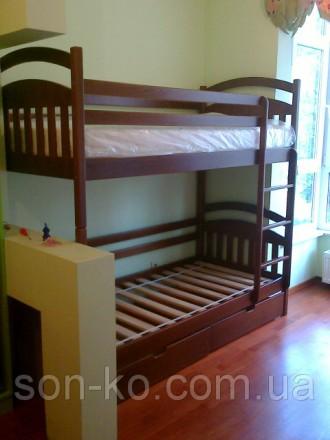 Ліжко двоярусне Денис з масиву бук. Львов. фото 1