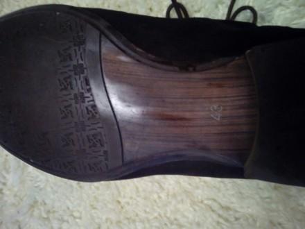 Отличные замшевые туфли коричневый насыщенный цвет 43 размер, немного полномерки. Чернігів, Чернігівська область. фото 8