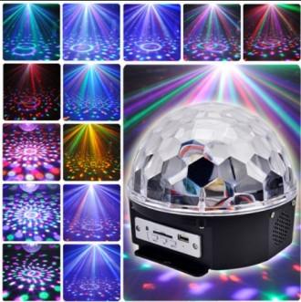 Диско-шар музыкальный для вечеринок LED Magic Ball Light, пульт+флешка. Днепр. фото 1