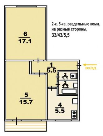 Сейчас отличный период .ДВУШКА в спальном районе на ДОЦЕНКО 2/5(брежневка). Чернигов. фото 1