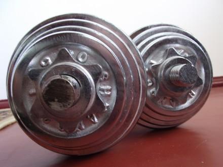 Продам гантели (наборные, 2 шт.); Вес (кг): 10 (каждая, соответственно 20кг общ. Смела, Черкасская область. фото 4
