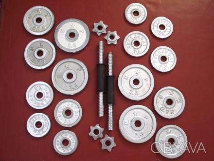 Продам гантели (наборные, 2 шт.); Вес (кг): 10 (каждая, соответственно 20кг общ. Смела, Черкасская область. фото 1