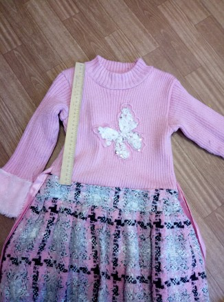 Платье теплое с жилеткой на девочку 6-8лет. Южноукраинск, Николаевская область. фото 4