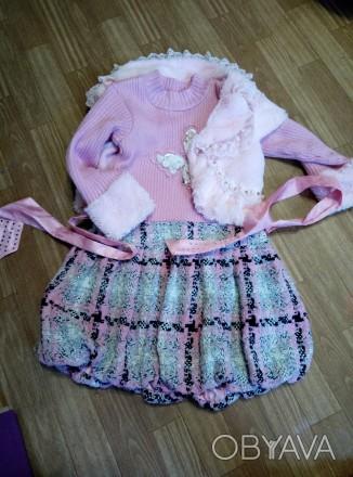 Платье теплое с жилеткой на девочку 6-8лет. Южноукраинск, Николаевская область. фото 1