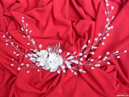 ... Свадебная заколка-гребешок. Украшение в виде веточки из бисера, жемчужных и. Измаил, Одесская область. фото 4