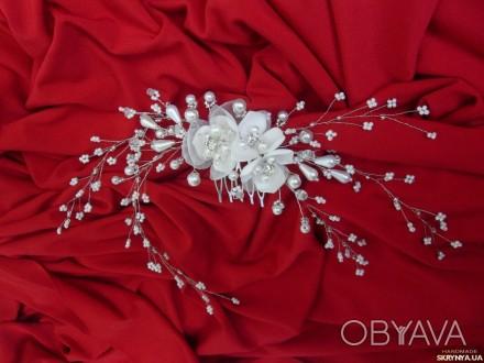 ... Свадебная заколка-гребешок. Украшение в виде веточки из бисера, жемчужных и. Измаил, Одесская область. фото 1