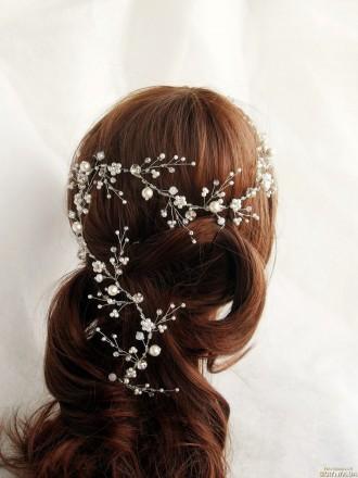 Свадебные украшения для волос. Плетеные веночки из бисера, бусин.. Измаил. фото 1