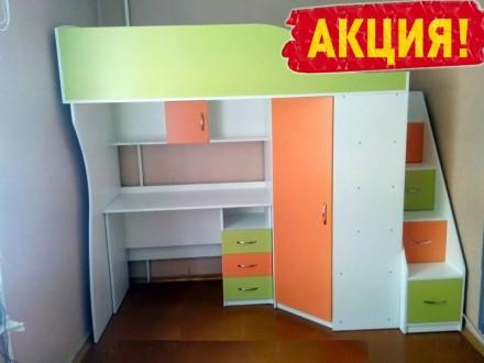 Кровать двухъярусная со столом. Цена кровати снижена! Доставка 0 грн. Киев. фото 1