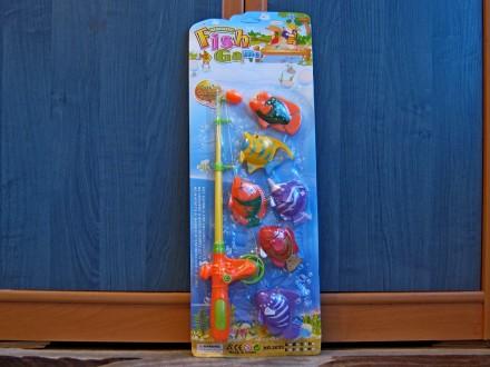 Рыбалка - игрушка детская для ванной, телескопическая удочка и 6 рыбок. Хмельницкий. фото 1