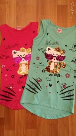 Детские  майки, футболки  с пайетками.. Лисичанск. фото 1