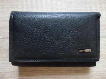 Женский кожаный кошелек HASSION (черный). Николаев. фото 1