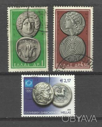 Марки Греции 3 шт (гашеные) Древнегреческие монеты                    два лота 4. Киев, Киевская область. фото 1