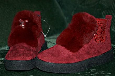 Стильные демисезонные ботинки бордового цвета. Кропивницкий. фото 1