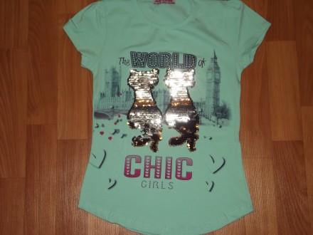 Детские  футболки с пайетками из Турции. Размеры : 128,140,152,164. Замеры по . Лисичанск, Луганская область. фото 4