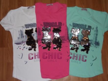 Детские  красивые футболки, туники  с пайетками.. Лисичанск. фото 1