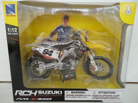 Модель мотоцикл 1:12 Suzuki RM Z 450 motocross мотокрос New Ray новая игрушка. Львов. фото 1