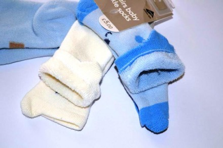 Махровые носки Mothercare от 0 до 6 месяцев, но будут дольше. Чаплинка. фото 1