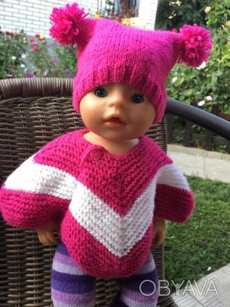 Вязаная кофта пончо для куклы Беби борн.. Киев, Киевская область. фото 1