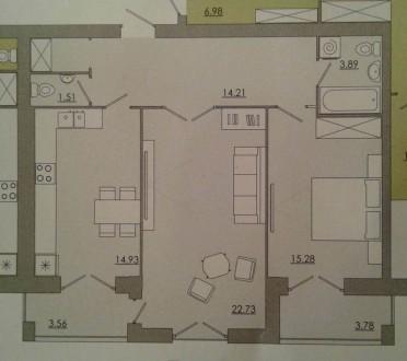 2-комнатная квартира, 75 кв.м. Винница. фото 1