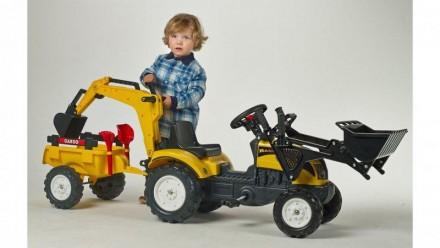 Трактор педальный детский с прицепом и двумя ковшами Falk 2055CN. Киев. фото 1