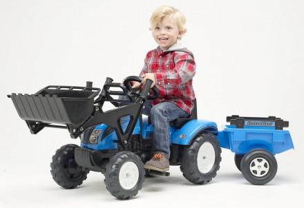 Трактор педальный детский с двумя ковшами и прицепом Falk 2050CM. Киев. фото 1