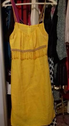 Платье летнее, желтое. льняное. наш 46-48 разм. евро 38-40 разм.. Киев. фото 1