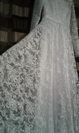 Новое, шикарное свадебное платье. Гипюр на атласном чехле. Фасон солнце - клеш с. Полтава, Полтавская область. фото 3