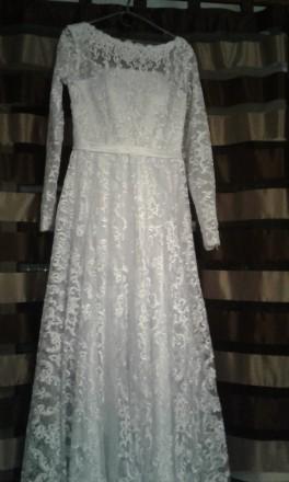 Новое, шикарное свадебное платье. Гипюр на атласном чехле. Фасон солнце - клеш с. Полтава, Полтавская область. фото 5