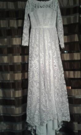 Новое, шикарное свадебное платье. Гипюр на атласном чехле. Фасон солнце - клеш с. Полтава, Полтавская область. фото 4